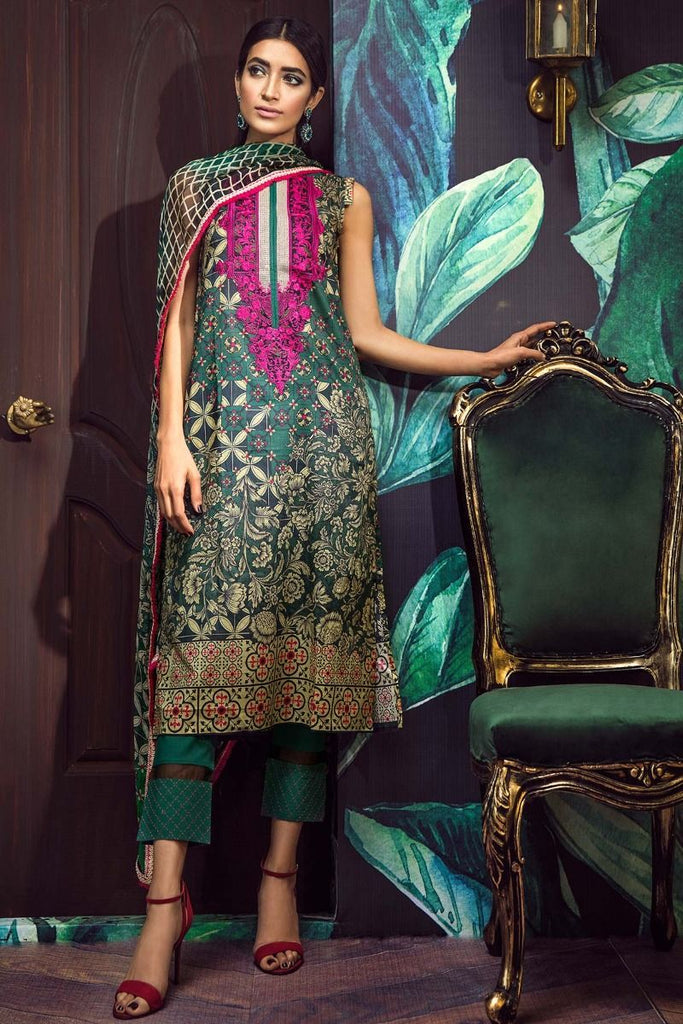 Khaadi Tropical Escape Lawn Collection 2018 – E18102 Green 3Pc