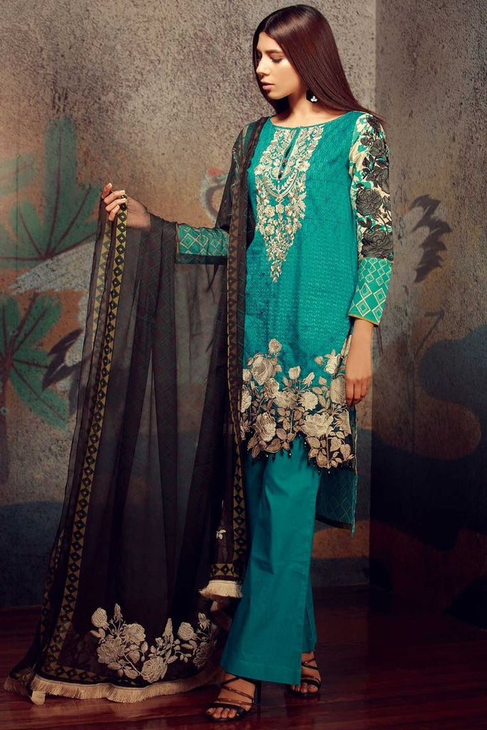 Khaadi Tropical Escape Lawn Collection 2018 – F18101 Green 3Pc