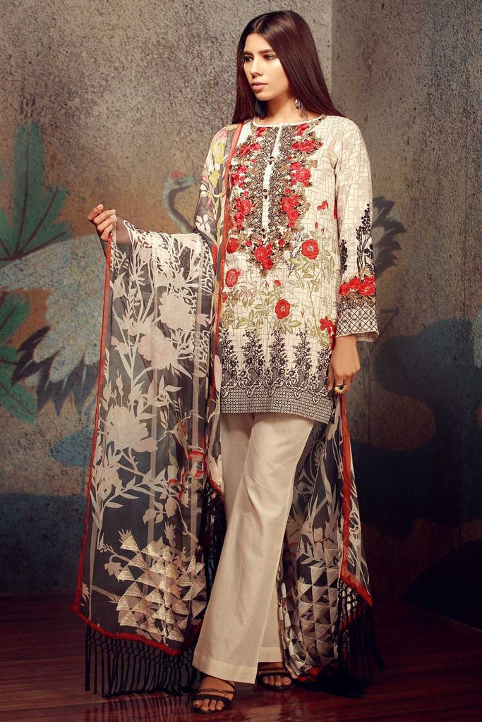 Khaadi Classics Lawn Collection 2018 – F18104 Grey 3Pc