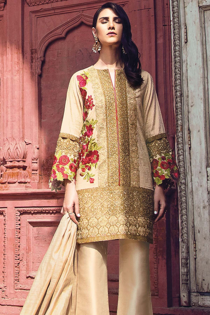 AlKaram Festive Embroidered Jacquard Collection 2018 – FC-01-18 Beige