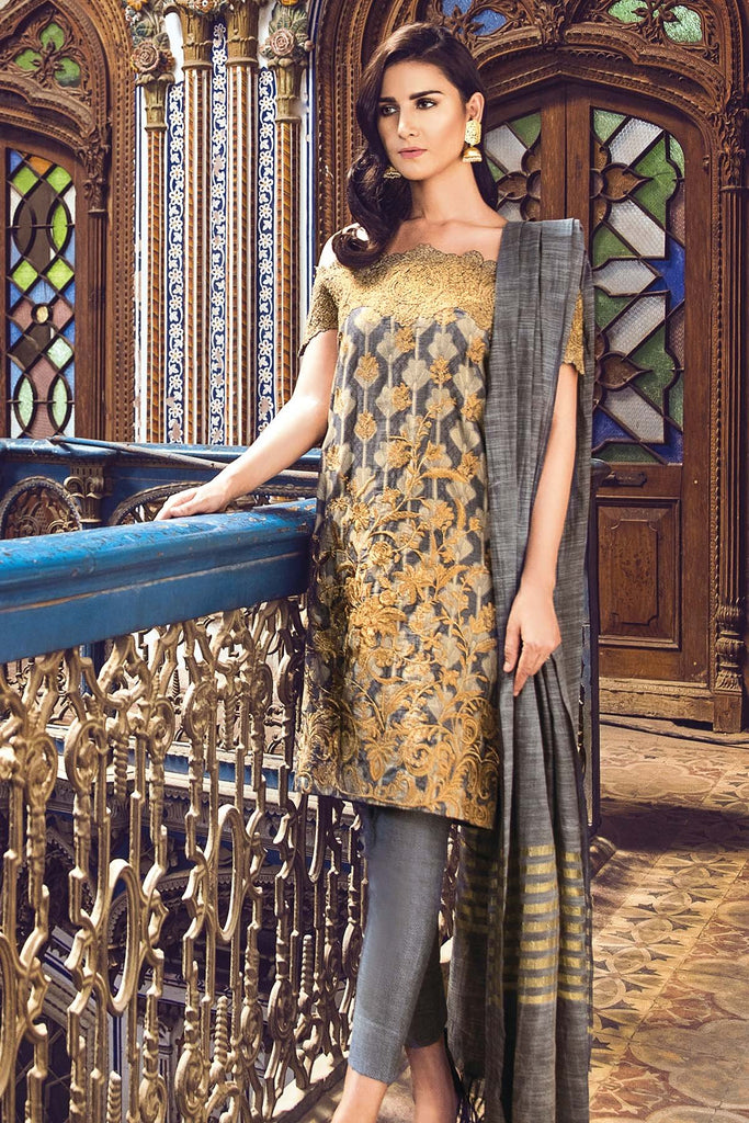 AlKaram Festive Embroidered Jacquard Collection 2018 – FC-02-18 Grey