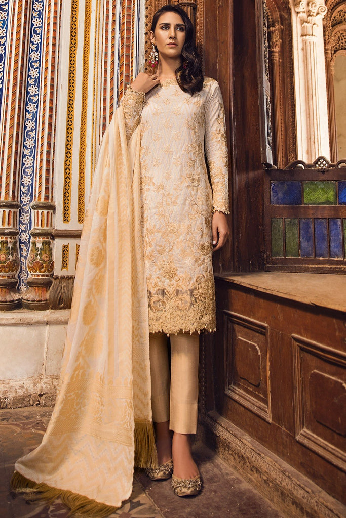 AlKaram Festive Embroidered Jacquard Collection 2018 – FC-03-18 Beige