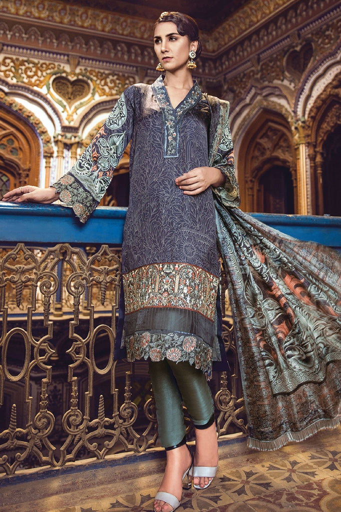 AlKaram Festive Embroidered Silk Collection 2018 – FC-08-18 Blue
