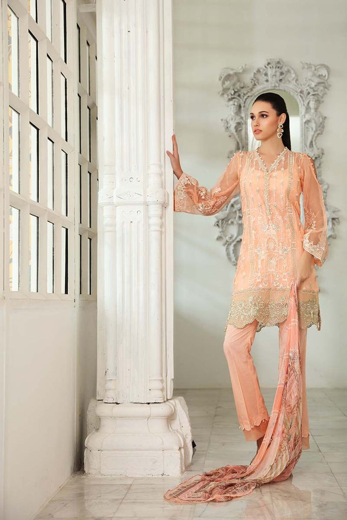 Gul Ahmed Festive Jewelled Collection 2018 – Peach 3 Pc Blended Chiffon FE-100