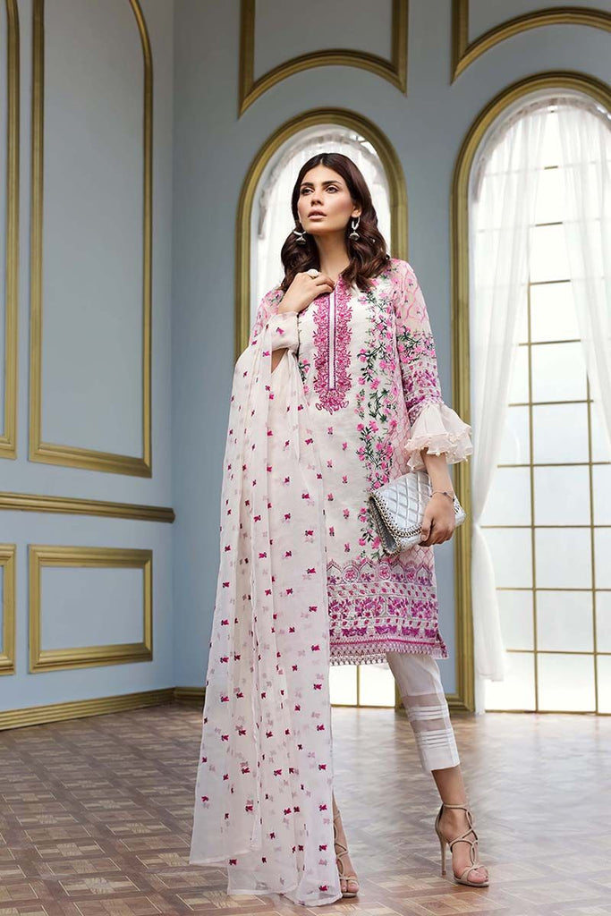 Gul Ahmed Festive Jewelled Collection 2018 – White 3 Pc Embroidered FE-102