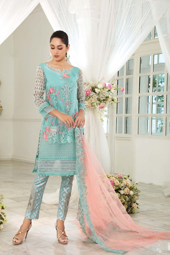 Gul Ahmed Festive Jewelled Collection 2018 – Ferozi 3 Pc Embroidered FE-103