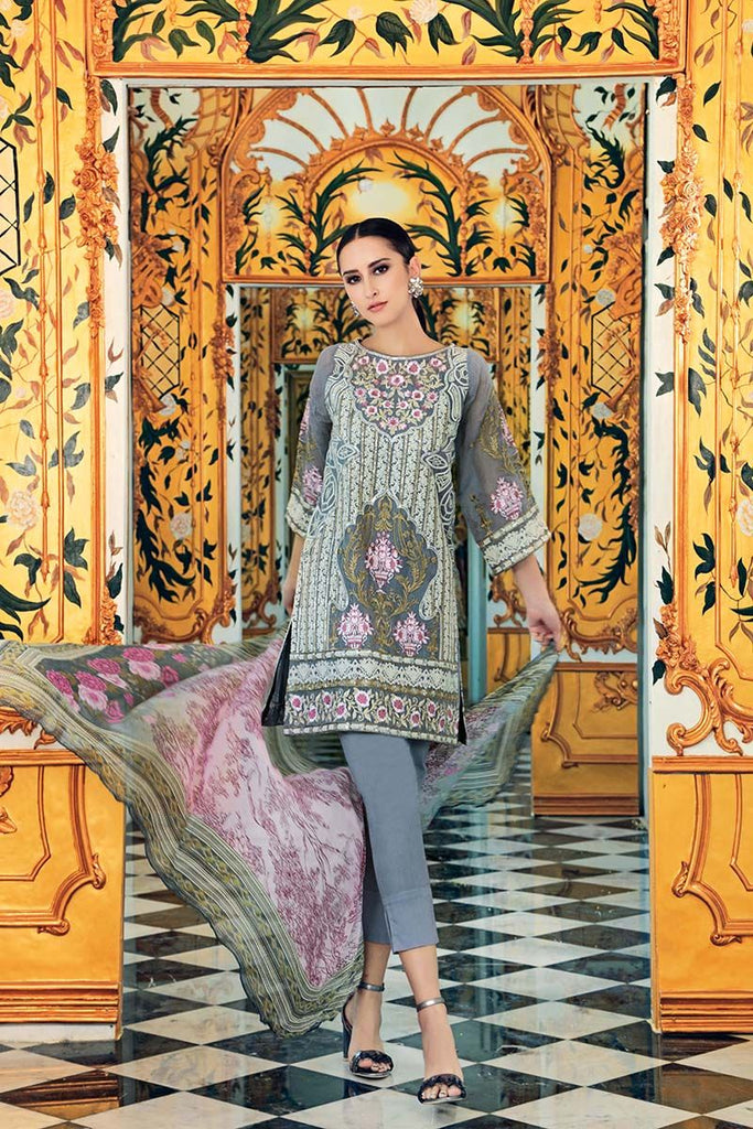 Gul Ahmed Festive Jewelled Collection 2018 – Grey 3 Pc Blended Chiffon FE-111