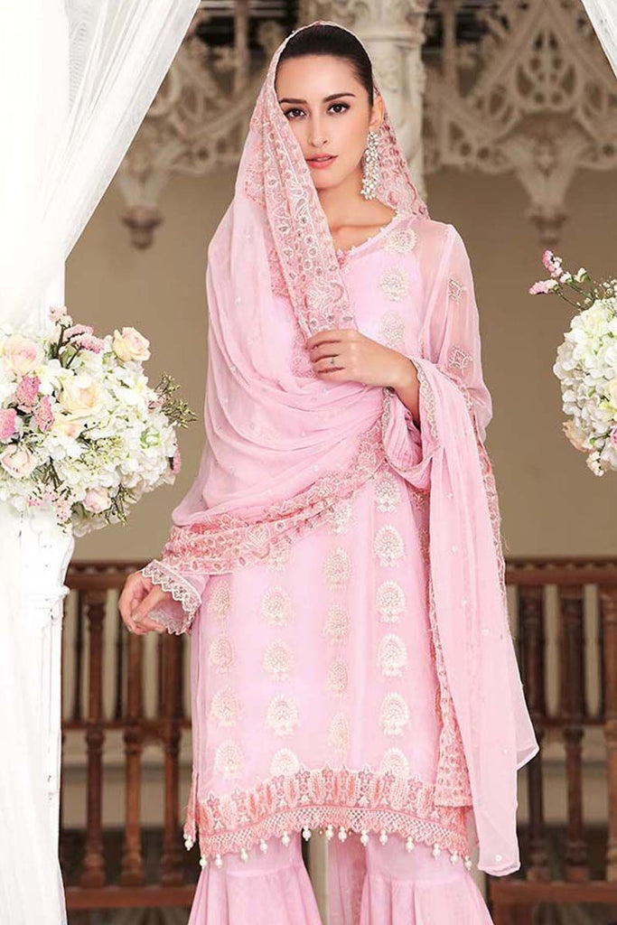 Gul Ahmed Festive Jewelled Collection 2018 – Light Pink 3 Pc Blended Chiffon FE-115