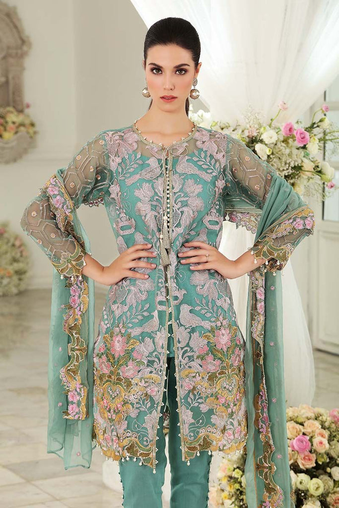 Gul Ahmed Festive Jewelled Collection 2018 – Teal 3 Pc Blended Chiffon FE-121