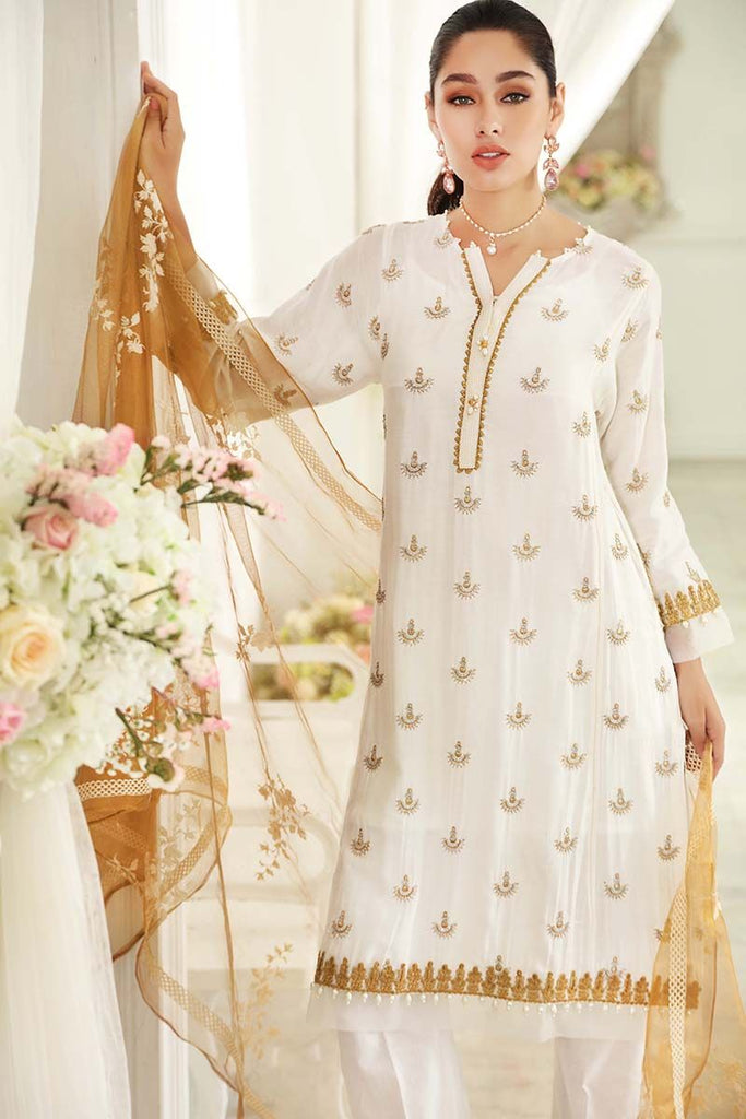 Gul Ahmed Festive Jewelled Collection – Off White 3 Pc Embroidered FE-123