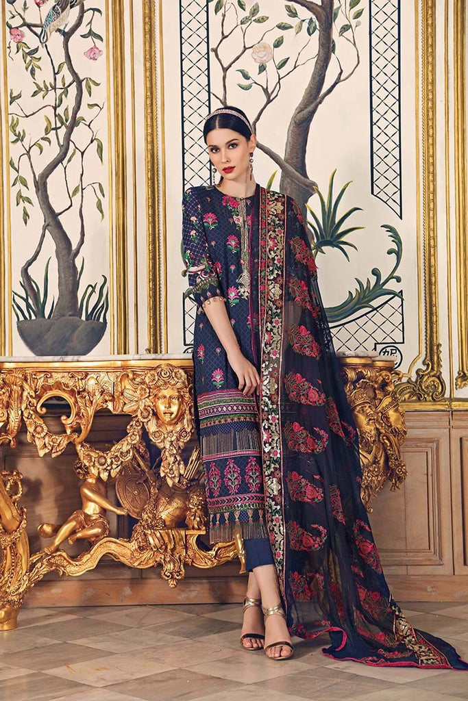 Gul Ahmed Festive Jewelled Collection 2018 – Navy 3 Pc Embroidered FE-126