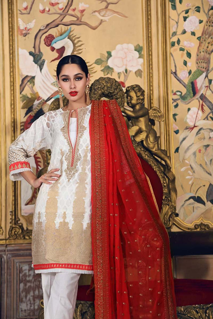 Gul Ahmed Festive Jewelled Collection 2018 – Off White 3 Pc Embroidered FE-127