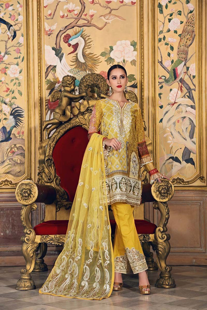 Gul Ahmed Festive Jewelled Collection 2018 – Yellow 3 Pc Embroidered FE-132