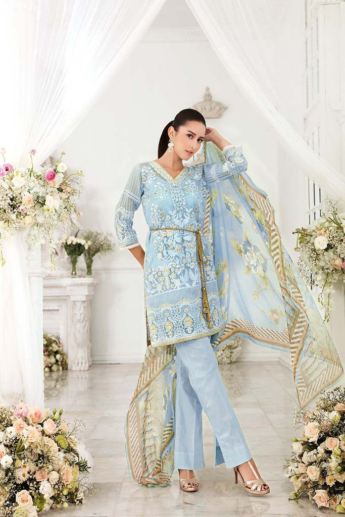 Gul Ahmed Festive Jewelled Collection 2018 – Sky Blue 3 Pc Blended Chiffon FE-136