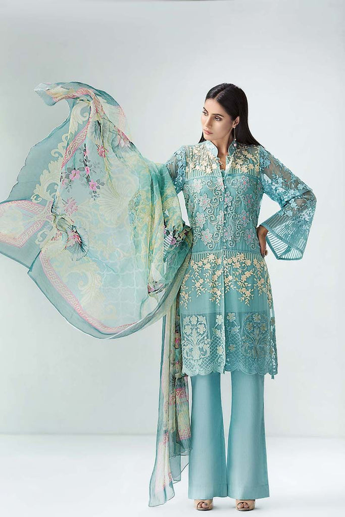 Gul Ahmed Festive Jewelled Collection 2018 – Aqua 3 Pc Blended Chiffon FE-138