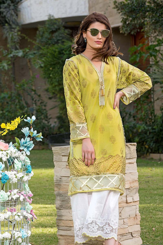 Gul Ahmed Festive Jewelled Collection 2018 – Light Green 2 Pc Printed with Embroidered Bottom FE-145