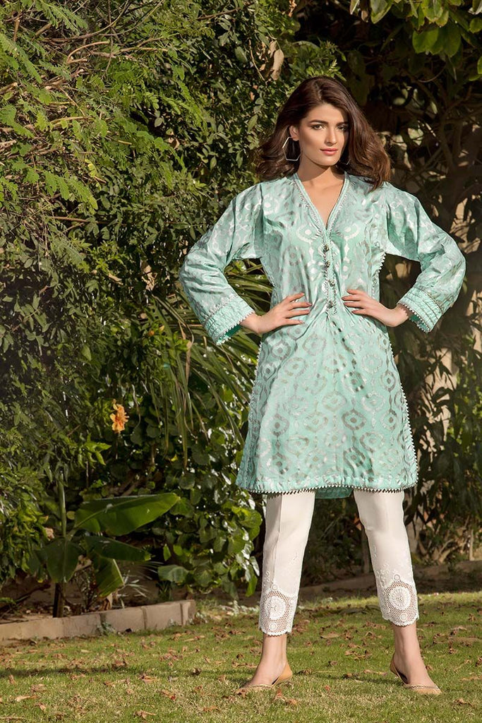 Gul Ahmed Festive Jewelled Collection 2018 – Green 2 Pc Printed with Embroidered Bottom FE-146