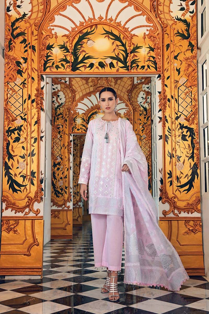 Gul Ahmed Festive Jewelled Collection 2018 – Light Pink 3 Pc Embroidered FE-152