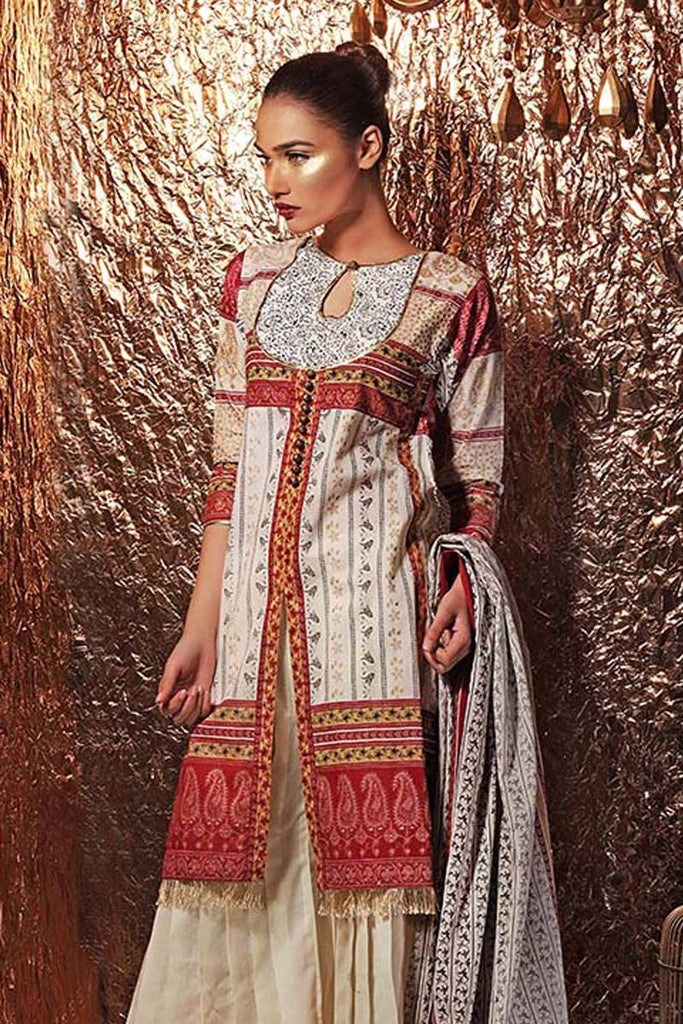 Gul Ahmed Festive Jewelled Collection 2018 – Maroon 3 Pc Printed Suit FE-156