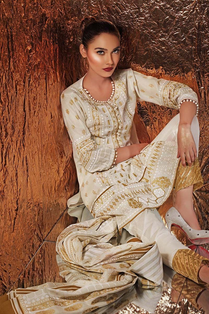 Gul Ahmed Festive Jewelled Collection 2018 – Beige 3 Pc Printed Suit FE-157