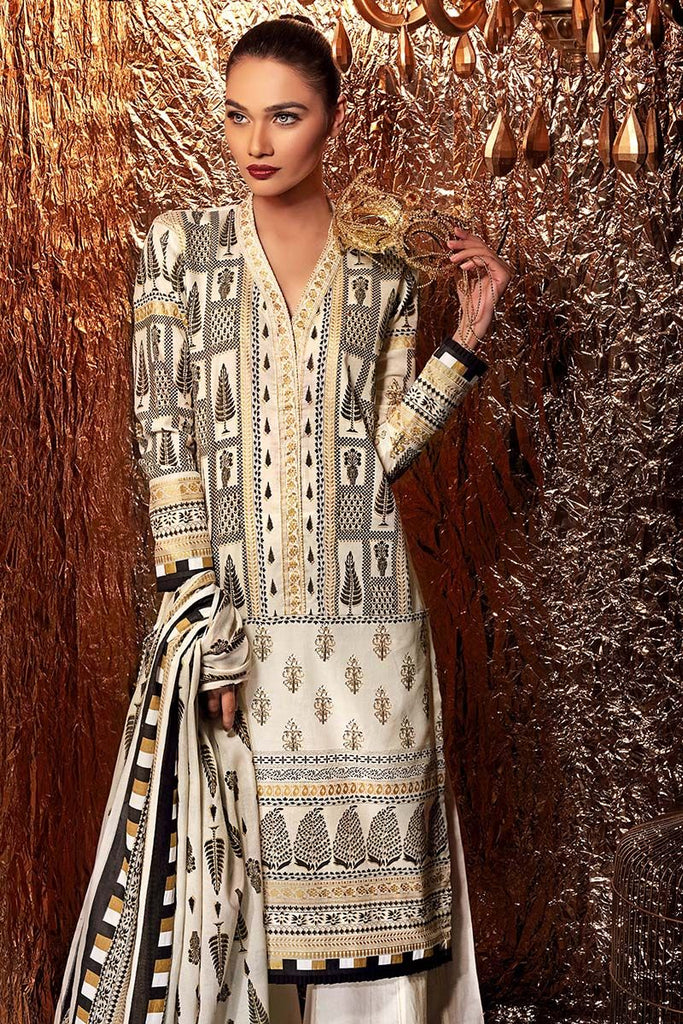 Gul Ahmed Festive Jewelled Collection 2018 – Off White 3 Pc Embroidered FE-159