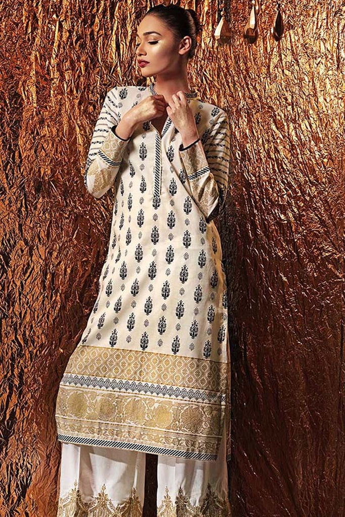 Gul Ahmed Festive Jewelled Collection 2018 – Beige 2 Pc Printed with Embroidered Bottom FE-160