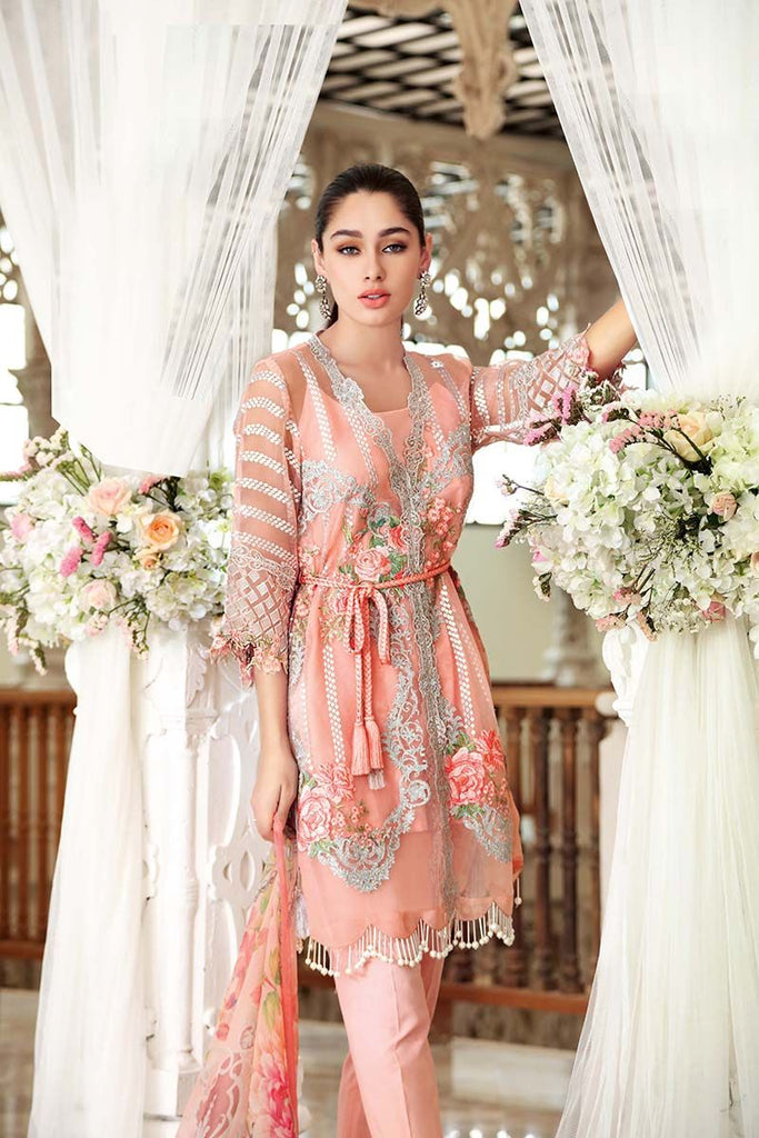 Gul Ahmed Festive Jewelled Collection 2018 – Peach 3 Pc Blended Chiffon FE-72