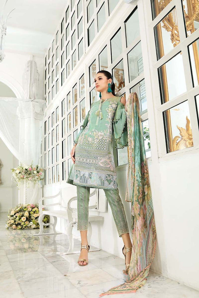 Gul Ahmed Festive Jewelled Collection 2018 – Green 3 Pc Blended Chiffon FE-78