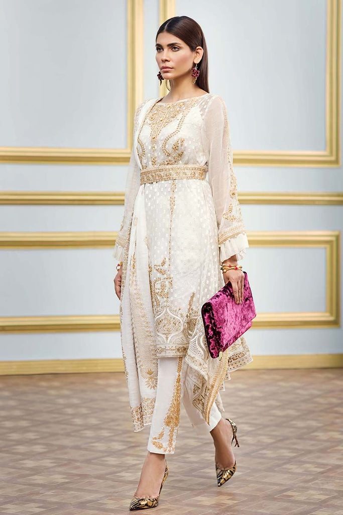 Gul Ahmed Festive Jewelled Collection 2018 – Off White 3 Pc Embroidered FE-80