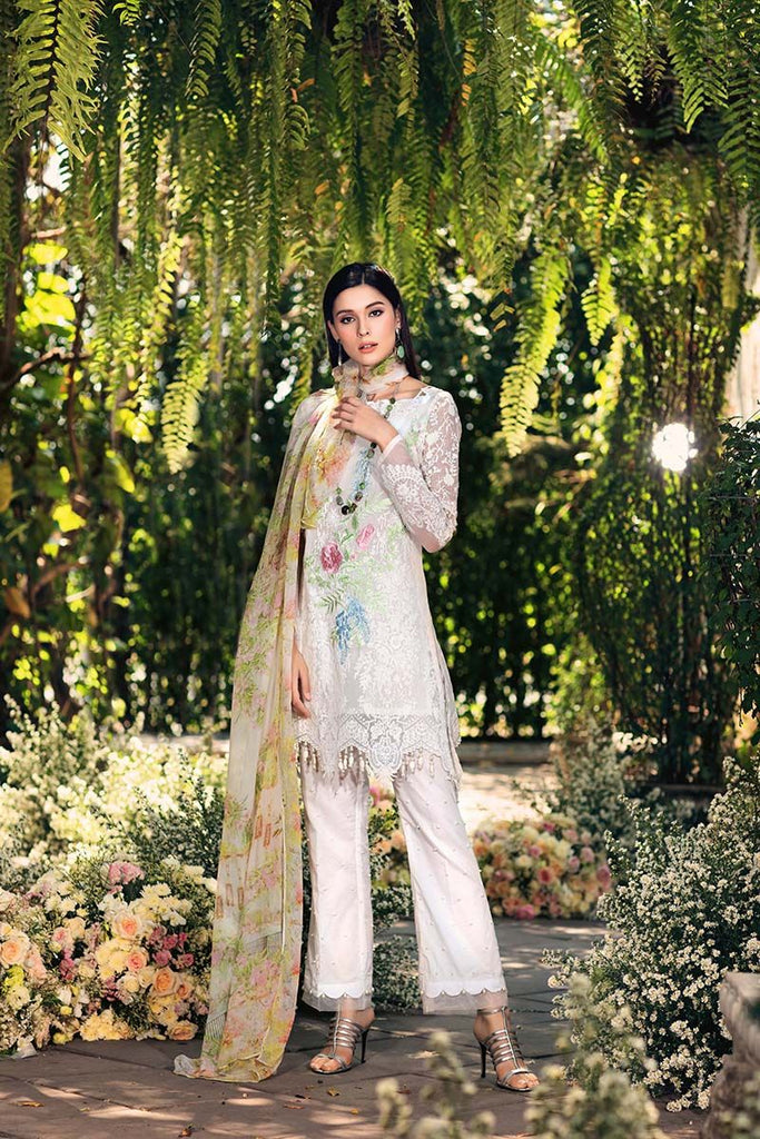 Gul Ahmed Festive Jewelled Collection 2018 – Off White 3 Pc Blended Chiffon FE-84