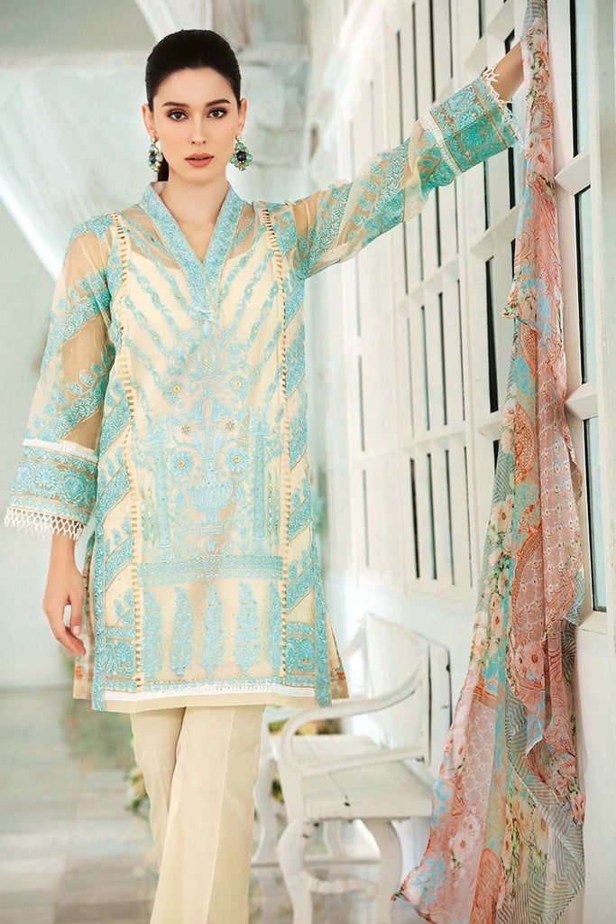 Gul Ahmed Festive Jewelled Collection 2018 – Off White 3 Pc Blended Chiffon FE-88