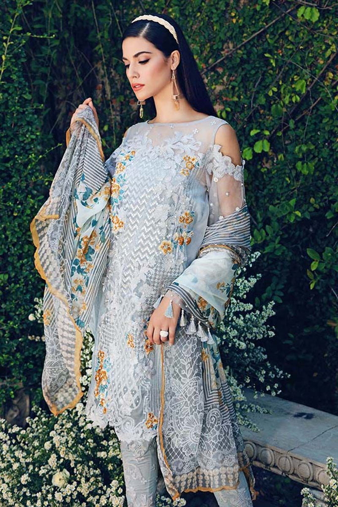 Gul Ahmed Festive Jewelled Collection 2018 – Sky Blue 3 Pc Blended Chiffon FE-93