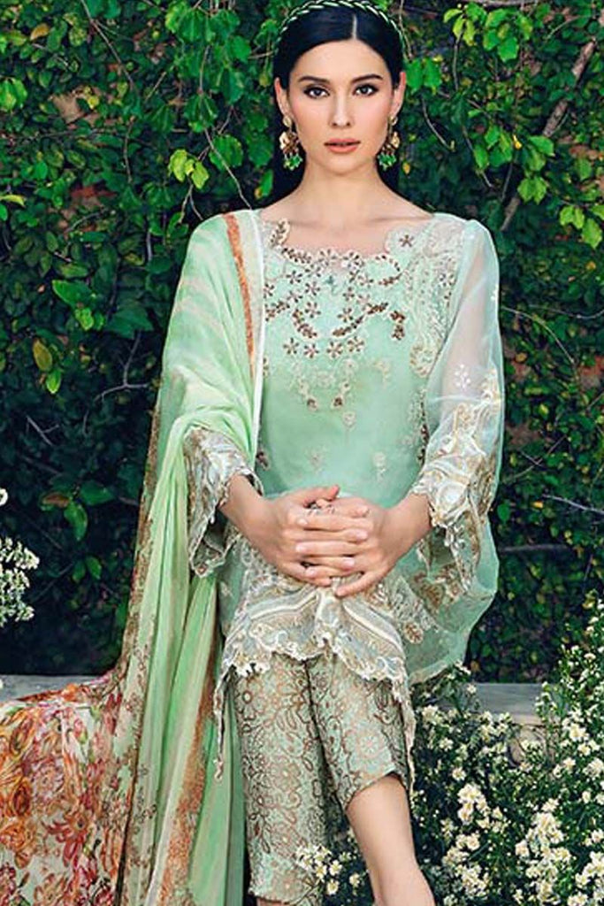 Gul Ahmed Festive Jewelled Collection 2018 – Light Green 3 Pc Blended Chiffon FE-98