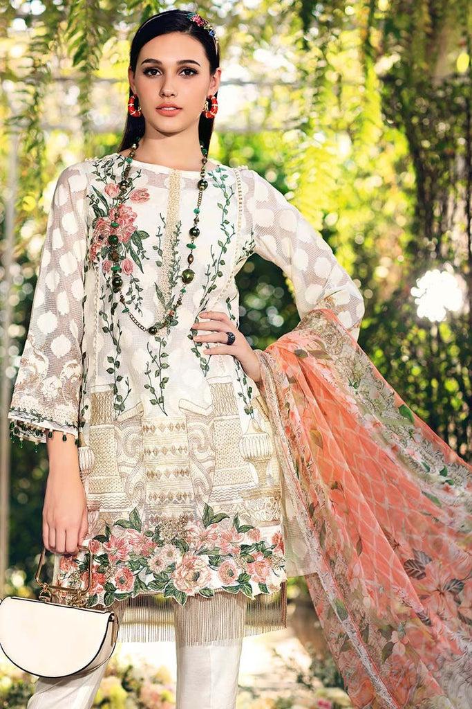 Gul Ahmed Festive Jewelled Collection 2018 – Off White 3 Pc Blended Chiffon FE-99