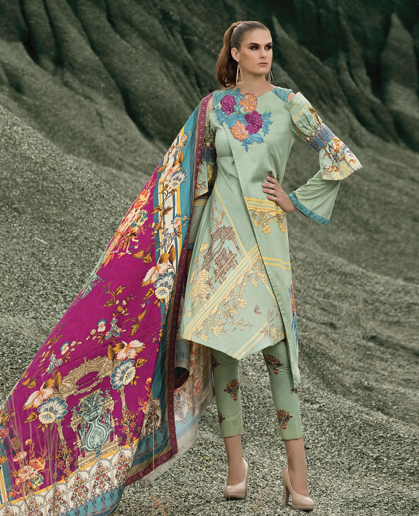 Ittehad Royal Embroidered Winter Collection 2018 – Viridescent Fuschia