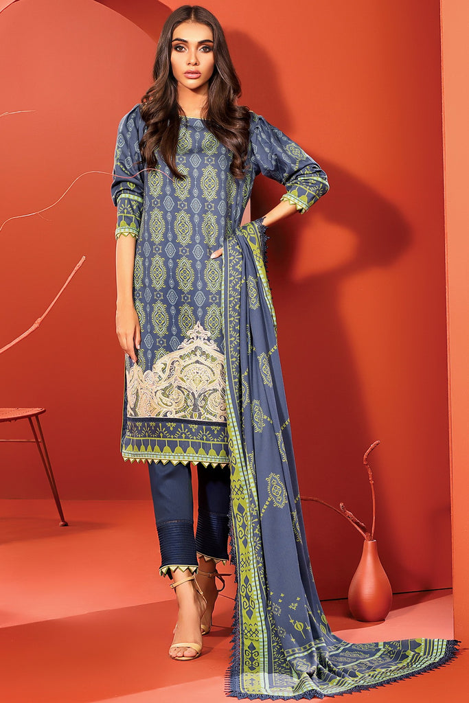 AlKaram Winter Collection – Three Piece Embroidered Cotail Suit With Printed Cotail Viscose Dupatta – FW-1.1-20-Blue