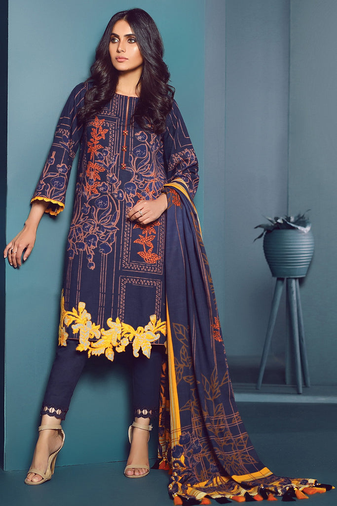 AlKaram Winter Collection – Three Piece Embroidered Khaddar Suit With Printed Khaddar Dupatta – FW-16-20-Blue