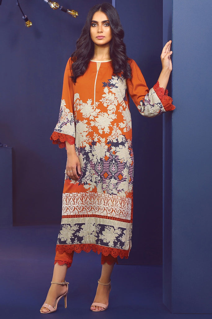 AlKaram Winter Collection – Two Piece Embroidered Cotail Suit With Dyed Cotail Trouser – FW-30-20-Rust