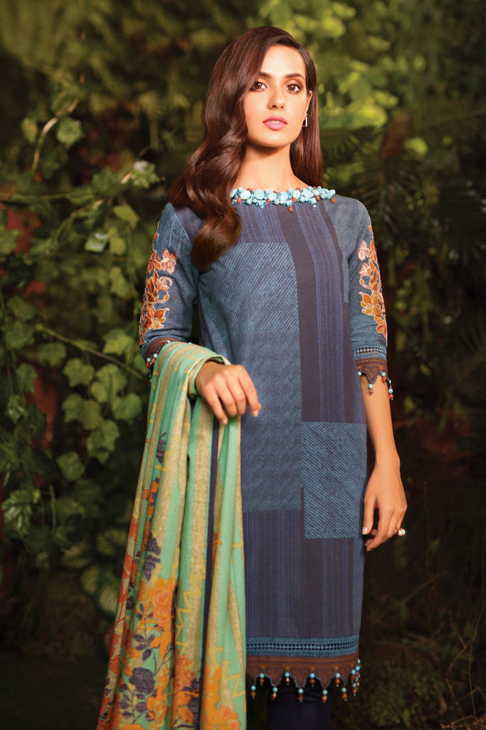 AlKaram Winter Collection – Three Piece Embroidered Khaddar Suit With Printed Khaddar Dupatta – FW-41-20-Blue