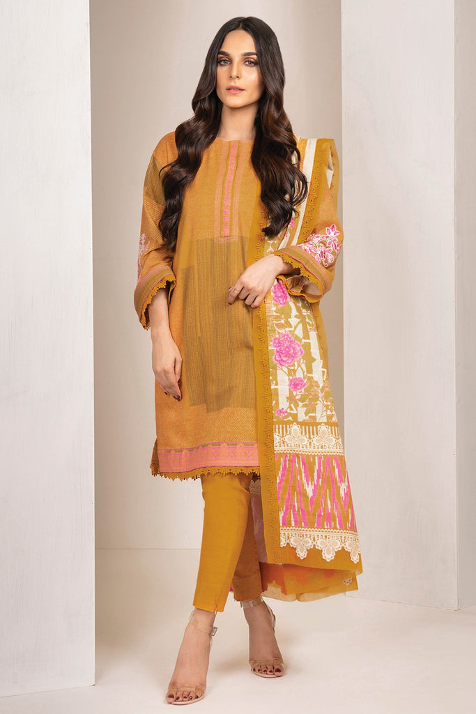 AlKaram Winter Collection – Three Piece Embroidered Khaddar Suit With Printed Khaddar Dupatta – FW-41-20-Mustard