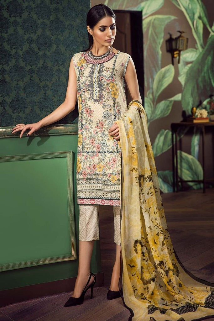 Khaadi Classics Lawn Collection 2018 – G18103 Beige 3Pc