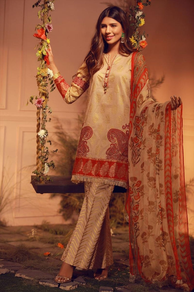 Khaadi Luxury Collection 2018 – G18203 Beige