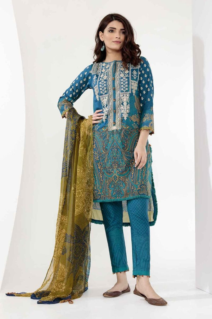 Khaadi Mid Summer Lawn Collection 2018 – G18301 Blue 3Pc
