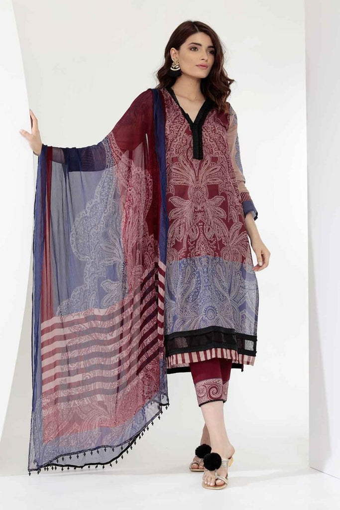 Khaadi Mid Summer Lawn Collection 2018 –  G18302 Maroon 3Pc