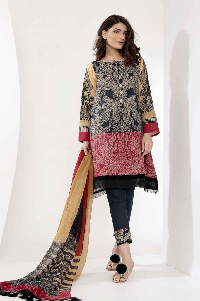 Khaadi Mid Summer Lawn Collection 2018 – G18302 Black 3Pc