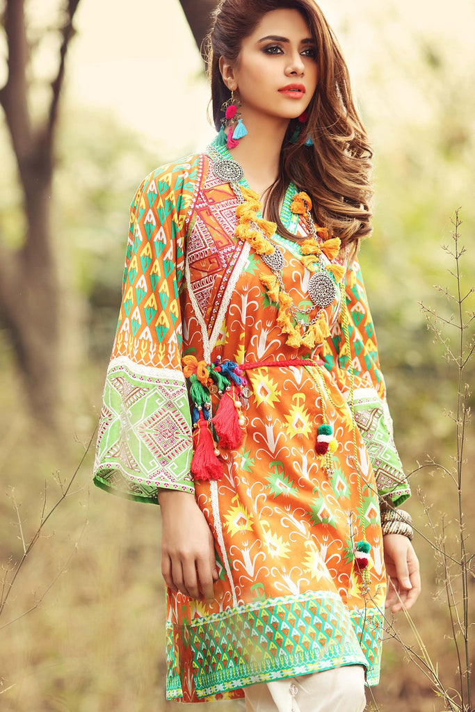 Gul Ahmed Gypsy Folk Lawn Collection - Orange 1 PC Embroidered Lawn Single GS-02