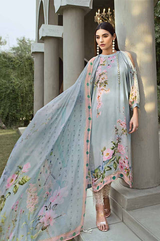 1b7bff3901 20% OFF Sold Out Gul Ahmed Lamis Digital Charmeuse Silk Collection 2018 –  Light Blue Jasmine Dream DGS-70