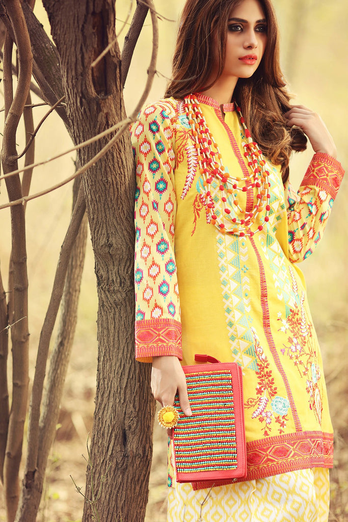 Gul Ahmed Gypsy Folk Lawn Collection - Yellow 2 Pc Embroidered Blended Chiffon GT-07