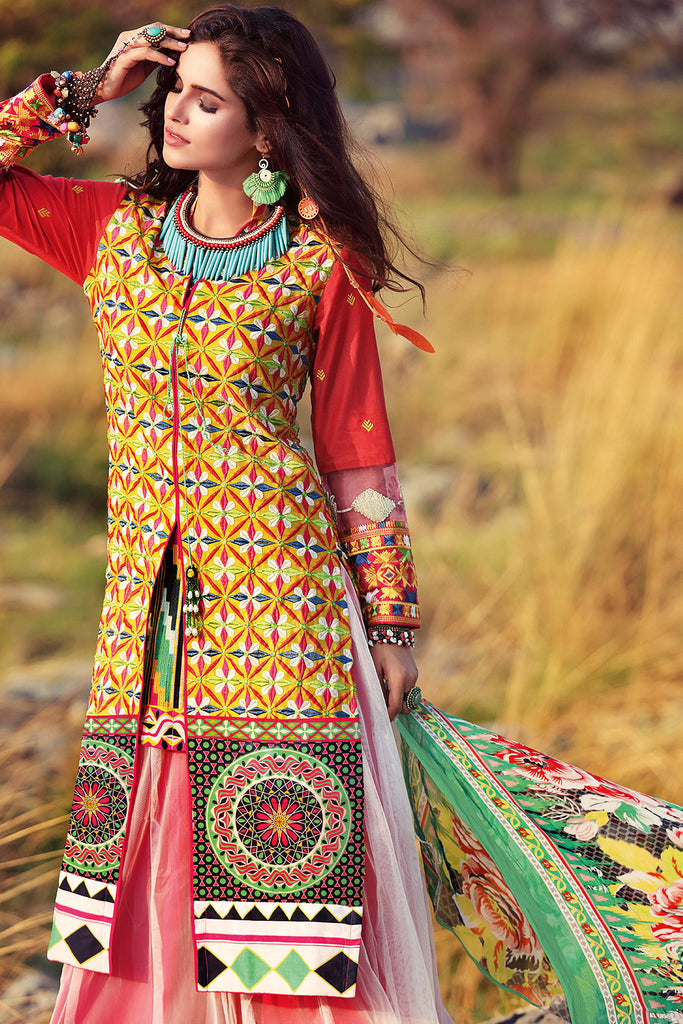 Gul Ahmed Gypsy Folk Lawn Collection - Mustard 2 Pc Embroidered Blended Chiffon GT-01