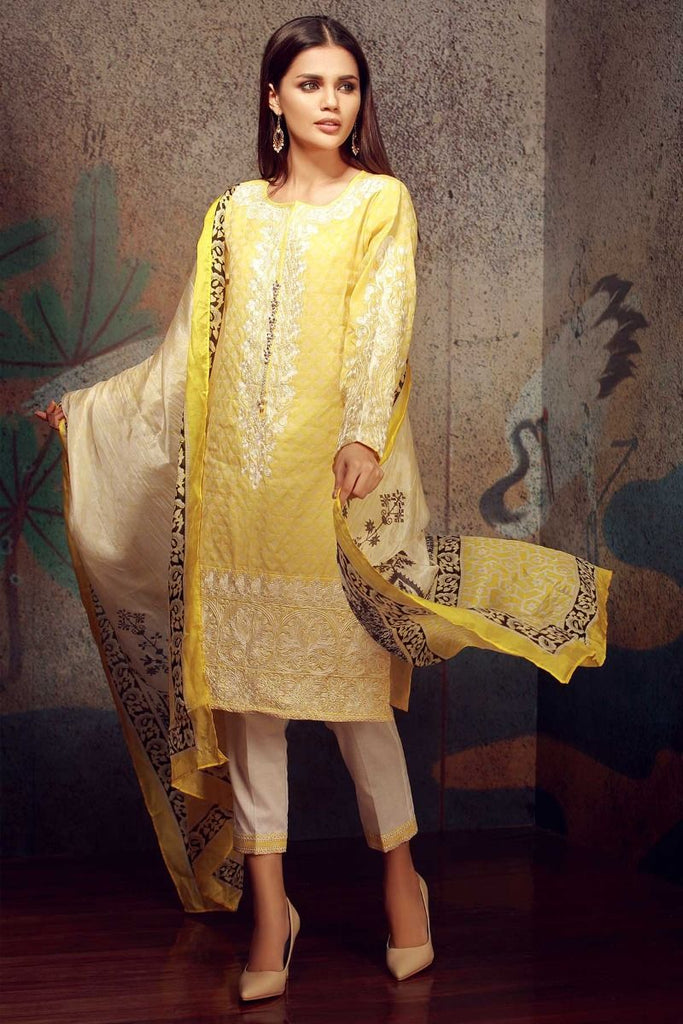 Khaadi Classics Lawn Collection 2018 – H18103 Yellow 3Pc